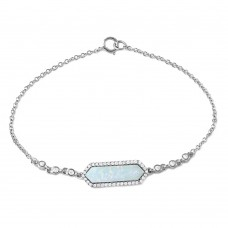 Wholesale Sterling Silver 925 Rhodium Plated Mother Opal Center Stone Bracelet - BGB00277