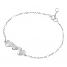 Wholesale Sterling Silver 925 Rhodium Plated 3 Heart CZ Bracelet - BGB00278