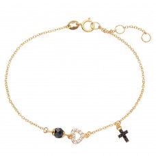 Wholesale Sterling Silver 925 Gold Plated Bracelet with Cross, Open Heart and Black CZ Bead - BGB00279
