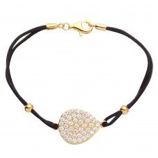 Sterling Silver Gold Plated CZ Encrusted Disc On a Black Cord Bracelet - BGB00280