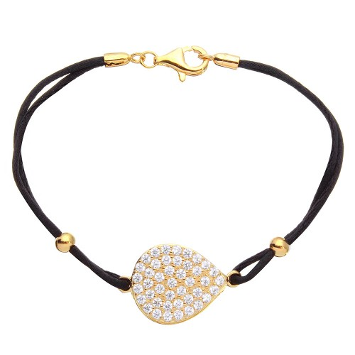 Wholesale Sterling Silver 925 Gold Plated CZ Encrusted Disc on a Black Cord Bracelet - BGB00280