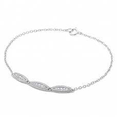 Wholesale Sterling Silver 925 Rhodium Plated 3 Oval Designed CZ Bracelet - BGB00282