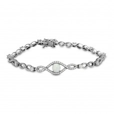 Sterling Silver Rhodium Plated CZ Eye Bracelet with Synthetic Opal - BGB00283
