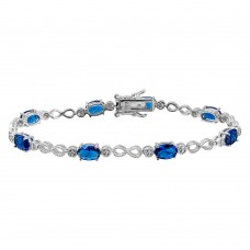 Sterling Silver Rhodium Plated Infinity Links Blue Oval CZ Bracelet - BGB00284