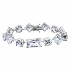 Wholesale Sterling Silver 925 Rhodium Plated Multi Shape CZ Stones Bracelet - BGB00285