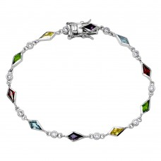 Sterling Silver Rhodium Plated Multi CZ Color Stones Tennis Bracelet - BGB00286