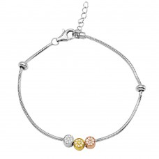 Sterling Silver Rhodium Plated Snake Bracelet With 3 Toned 3 CZ Cylinder Charm - BGB00287
