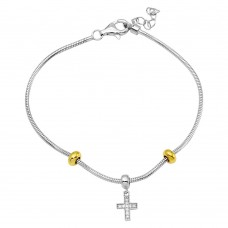 Wholesale Sterling Silver 925 Rhodium Plated Snake Bracelet with CZ Cross Charm - BGB00288