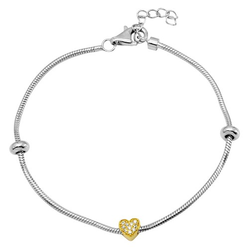Wholesale Sterling Silver 925 Rhodium Plated Snake Bracelet with Gold Plated CZ Heart Charm - BGB00289