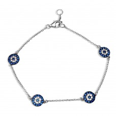 Wholesale Sterling Silver 925 Black Rhodium and Rhodium Plated Evil Eye Bracelet - BGB00291