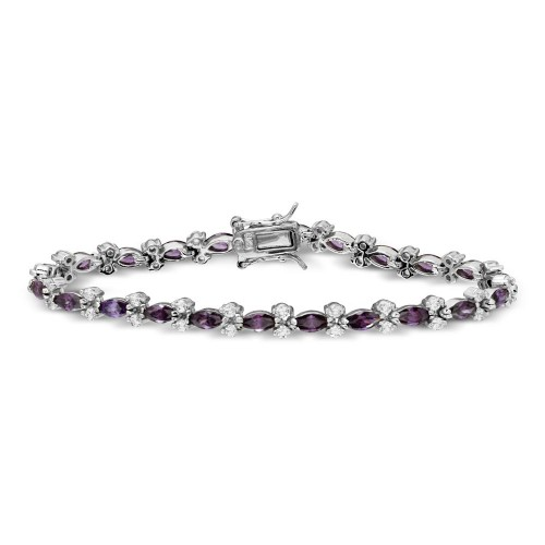 Wholesale Sterling Silver 925 Rhodium Plated Purple Marquise and Clear Round CZ Tennis Bracelet - BGB00293AMY