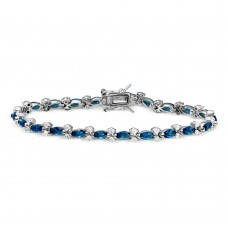 Sterling Silver Rhodium Plated Blue Marquise and Clear Round CZ Tennis Bracelet - BGB00293BLU
