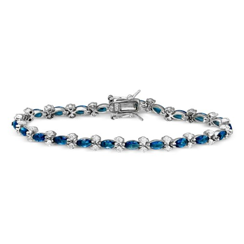 Wholesale Sterling Silver 925 Rhodium Plated Blue Marquise and Clear Round CZ Tennis Bracelet - BGB00293BLU