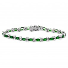 Sterling Silver Rhodium Plated Green Marquise and Clear Round CZ Tennis Bracelet - BGB00293GRN