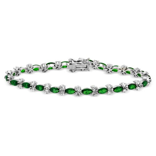 Wholesale Sterling Silver 925 Rhodium Plated Green Marquise and Clear Round CZ Tennis Bracelet - BGB00293GRN