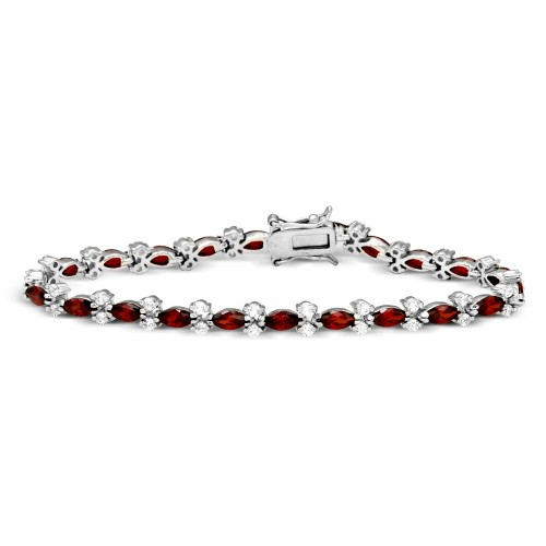 Wholesale Sterling Silver 925 Rhodium Plated Red Marquise and Clear Round CZ Tennis Bracelet - BGB00293RED