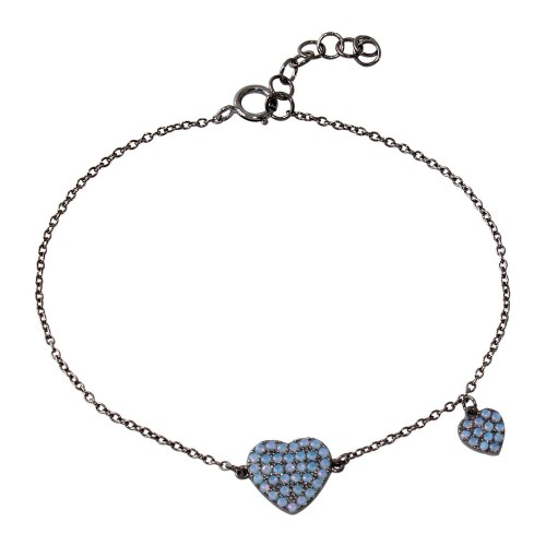 Wholesale Sterling Silver 925 Black Rhodium Plated Big Heart with Opal and Dangling Small Heart with Opal Lariat Bracelet - BGB00294