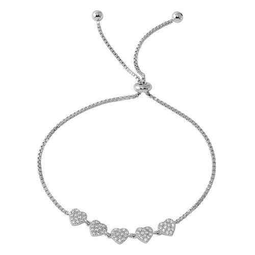 Wholesale Sterling Silver 925 Rhodium Plated 5 Heart with CZ Lariat Bracelet - BGB00295