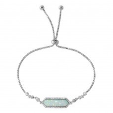 Wholesale Sterling Silver 925 Rhodium Plated White Opal with CZ Lariat Bracelet - BGB00297