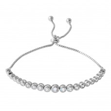Wholesale Sterling Silver 925 Rhodium Plated Lariat Bracelet with Round CZ - BGB00298