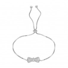 Wholesale Sterling Silver 925 Rhodium Plated Bow Tie Lariat Bracelet with CZ - BGB00300