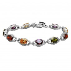 Sterling Silver Rhodium Plated Multi Color Round CZ Tennis Bracelet - BGB00301