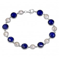 Sterling Silver Rhodium Plated Alternating Round Blue and Clear CZ Tennis Bracelet - BGB00302BLU