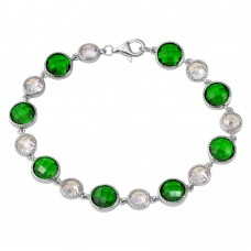 Sterling Silver Rhodium Plated Alternating Round Green and Clear CZ Tennis Bracelet - BGB00302GRN
