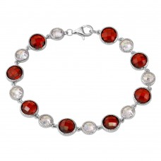 Sterling Silver Rhodium Plated Alternating Round Red and Clear CZ Tennis Bracelet - BGB00302RED