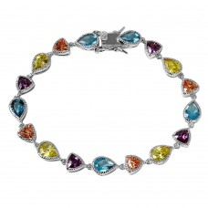 Wholesale Sterling Silver 925 Rhodium Plated Multi Shape and Color CZ Tennis Bracelet - BGB00256