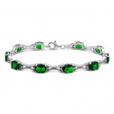 Wholesale Sterling Silver 925 Rhodium Plated Green Oval CZ Tennis Bracelet - BGB00290GRN