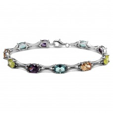 Wholesale Sterling Silver 925 Rhodium Plated Multiple Color Oval CZ Tennis Bracelet - BGB00290MUL