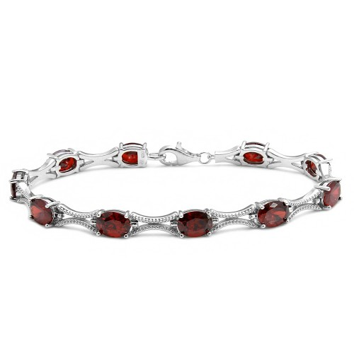 Wholesale Sterling Silver 925 Rhodium Plated Red Oval CZ Tennis Bracelet - BGB00290RED