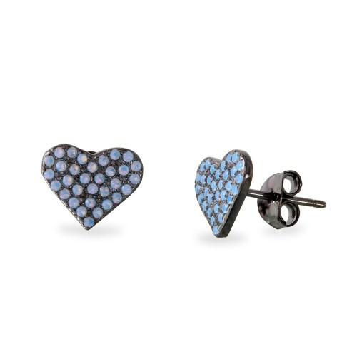 Wholesale Sterling Silver 925 Black Rhodium Plated Heart Earrings with Round Blue CZ - BGE00540