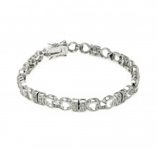 Wholesale Sterling Silver 925 Rhodium Plated CZ Link Bracelet - BGB00100