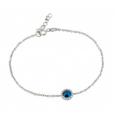 Wholesale Sterling Silver 925 Rhodium Plated Evil Eye CZ Bracelet - BGB00168