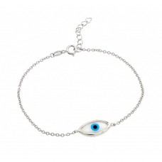 Wholesale Sterling Silver 925 Rhodium Plated Evil Eye CZ Bracelet - BGB00173