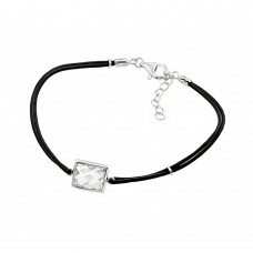 Sterling Silver Rhodium Plated Square CZ Black Rope Bracelet bgb00176