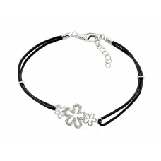 Sterling Silver Rhodium Plated Past Present Future Open Flower CZ Black Rope Bracelet - BGB00177