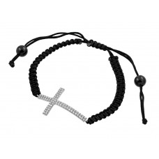 Wholesale Sterling Silver 925 Rhodium Plated Sideways Cross CZ Black Braided Cord Bracelet - BGB00179