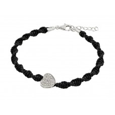 Wholesale Sterling Silver 925 Rhodium Plated Heart CZ Black Twisted Braided Cord Bracelet - BGB00185