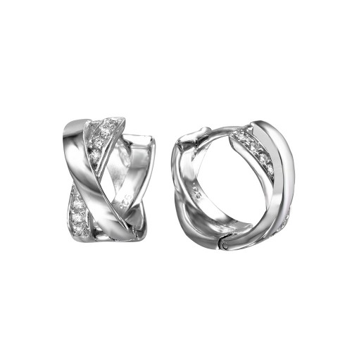Wholesale Sterling Silver 925 Rhodium Plated X Huggie Earrings with Cubic Zirconia Stones - BGE00467