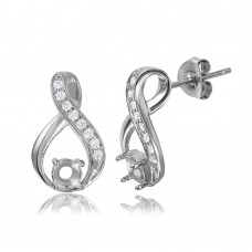 Sterling Silver Infinity Designed Personalized Mounting With Cubic Zirconia Stones Earrings - BGE00393