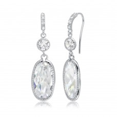 Wholesale Sterling Silver 925 Rhodium Plated Hanging Oval CZ Earrings - BGE00412