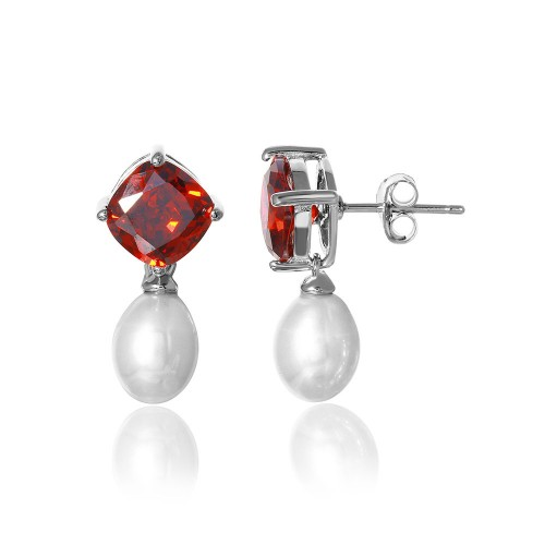Wholesale Sterling Silver 925 Rhodium Plated Round Red CZ Dangling Fresh Water Pearl Earrings - BGE00448RED