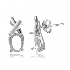 Sterling Silver Rhodium Plated Knot Personalized Mounting Earrings - BGE00462