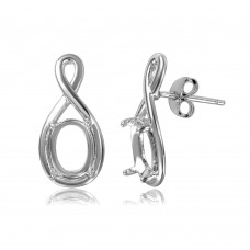 Sterling Silver Rhodium Plated Infinity Personalized Mounting Earrings - BGE00463