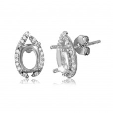 Sterling Silver Rhodium Plated Personalized Mounting Earrings With CZ - BGE00464
