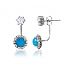 Sterling Silver Rhodium Plated Round CZ with Hanging Round Turquoise Earring BGE00474