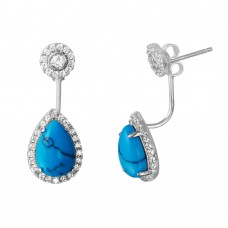 Wholesale Sterling Silver 925 Rhodium Plated CZ Flower with Hanging Turquoise Pears - BGE00476